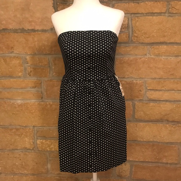 Heritage 1981 Dresses Strapless Black And White Polka Dot Dress